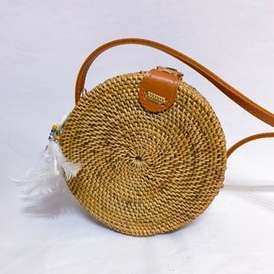 100% Ata Rattan Circle Purse and Genuine Leather